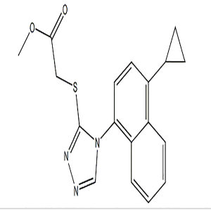 Acetic acid, 2-((4-(4-cyclopropyl-1-naphthalenyl)-4H-1,2,4-triazol-3-yl)thio)-, methyl ester  CAS NO.:1533519-85-5
