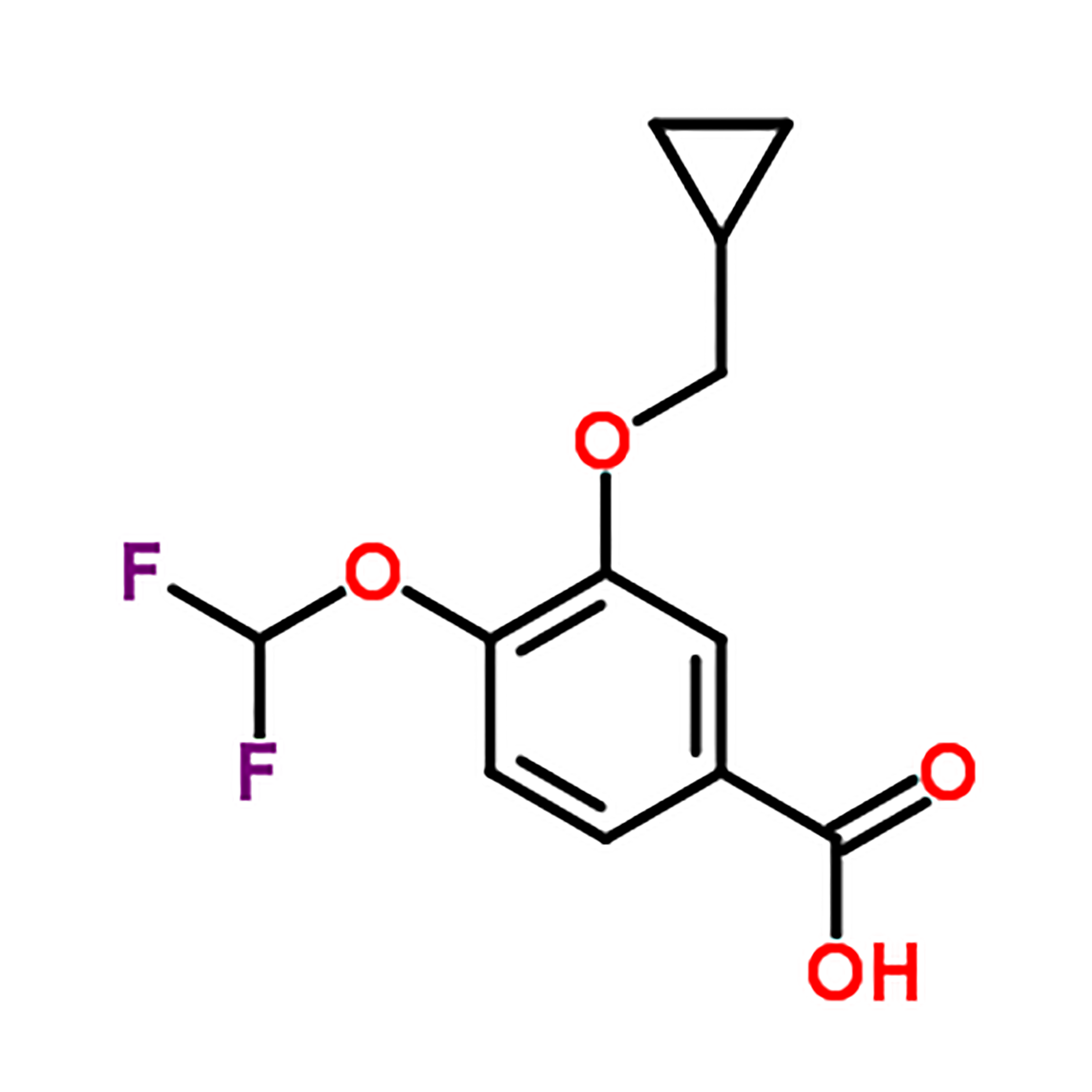 3-Cyclopropylmethoxy-4-difluoromethoxy-benzoic acid   CAS NO.:162401-62-9 Featured Image
